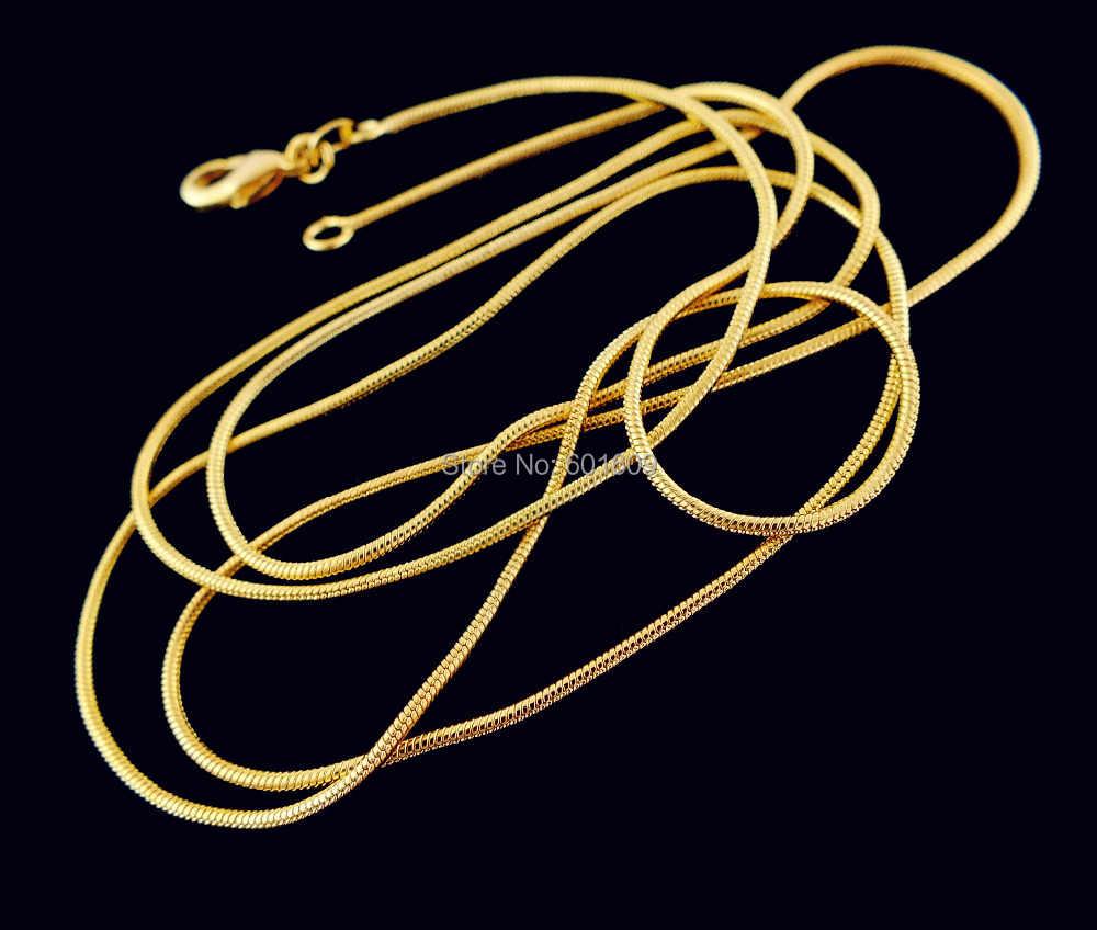 SHUANGR 2014 1pc złoty kolor 1.2 MM elegancki wzór wąż łańcuch Unisex mężczyźni/kobiety naszyjnik (DIY wisiorek) 16 cal-30 cali