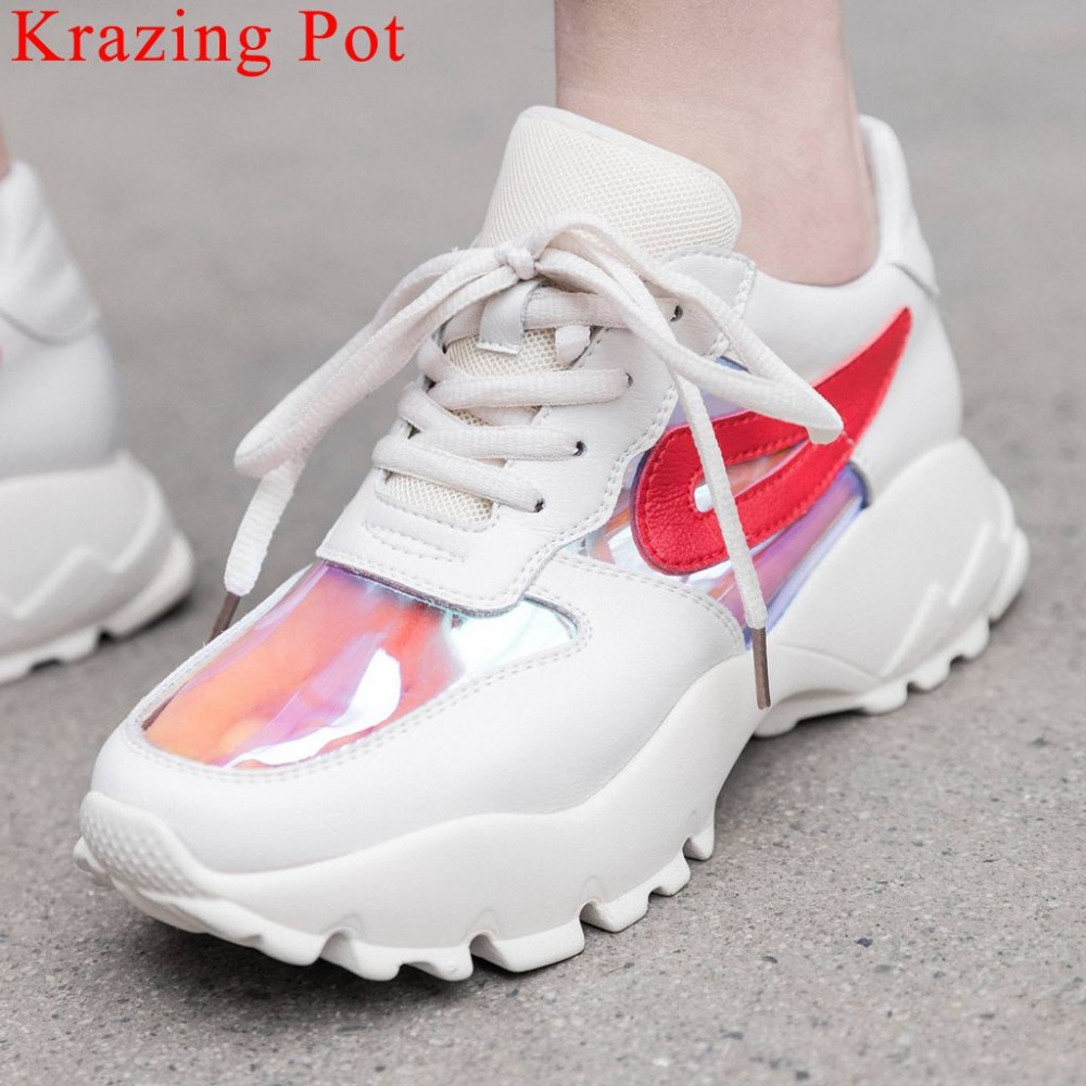 Krazing Pot European style mixed colors lace up sneakers handmade natural leather plus size well ventilated vulcanized shoes L60