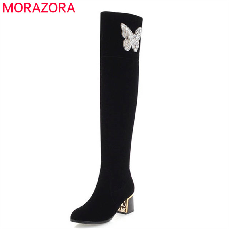MORAZORA 2018 new arrival over the knee boots women flock autumn winter boots fashion sexy long boots high heels dress shoes autumn winter beanie fur hat knitted wool cap with raccoon fur pompom skullies caps ladies knit winter hats for women beanies page 5