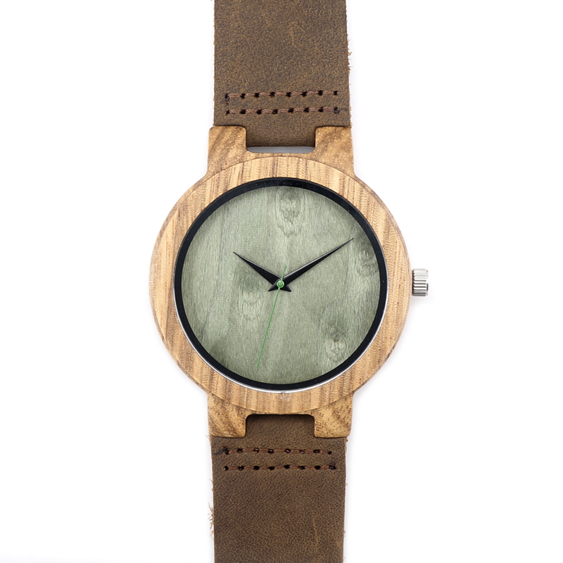 Personalized Design Wooden Wristwatch with Brown Genuine Leather Band