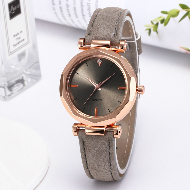 Fashion Women Black Green Brown Gray Small Shinning Leather Watch Simple Luxury Ladies Party Office OL Bracelet Watches Gifts