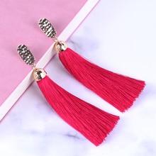 New Fashion Alloy  Long Tassel Earrings boucle d oreille Drop Earrings for Women Gold Jewelry Girls Party Ethnic Multicolor Gift