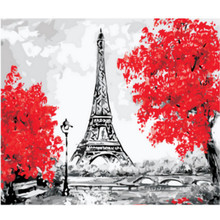RIHE Paris Tower Painting By Number Bridge Oil On Canvas Cuadros Decoracion Acrylic Paint Wall Art Living Room 40X50cm