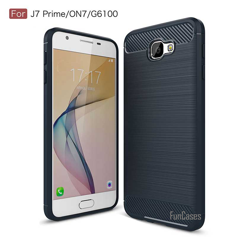 For Samsung Galaxy J7 prime on7 Case Cover Shock-Proof Mobile Phone Bag Carbon Fibre Brushed TPU Case for Galaxy on7 G6100 5.5