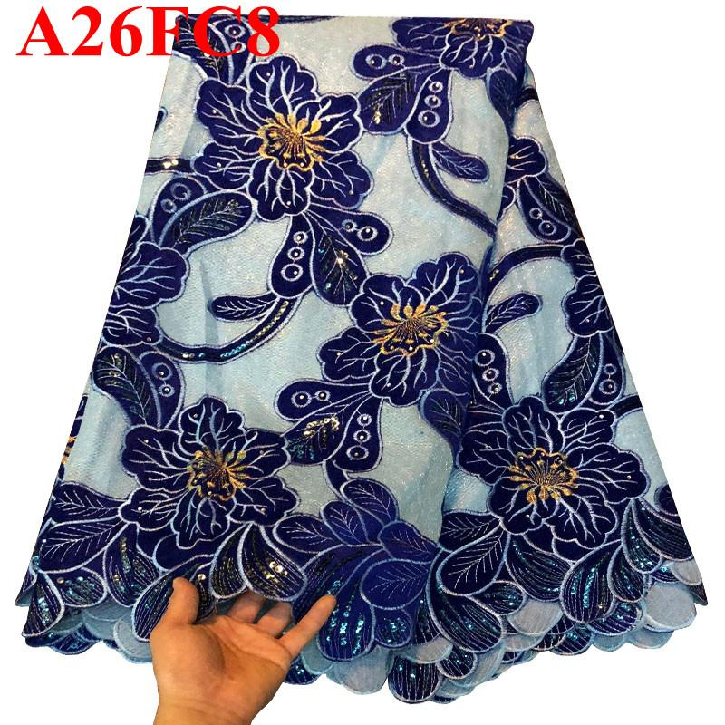2018 Luxury Royal Blue 100 Swiss cotton lace fabric 2018 high quality with sequins Swiss lace