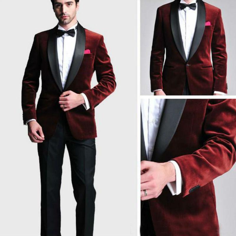 New Groom Tuxedos Men Designer Suits Wedding Suit For Men Tuxedos Slim Fit Navy Blue Back Red Velvet Suits (jacket+pants+tie)