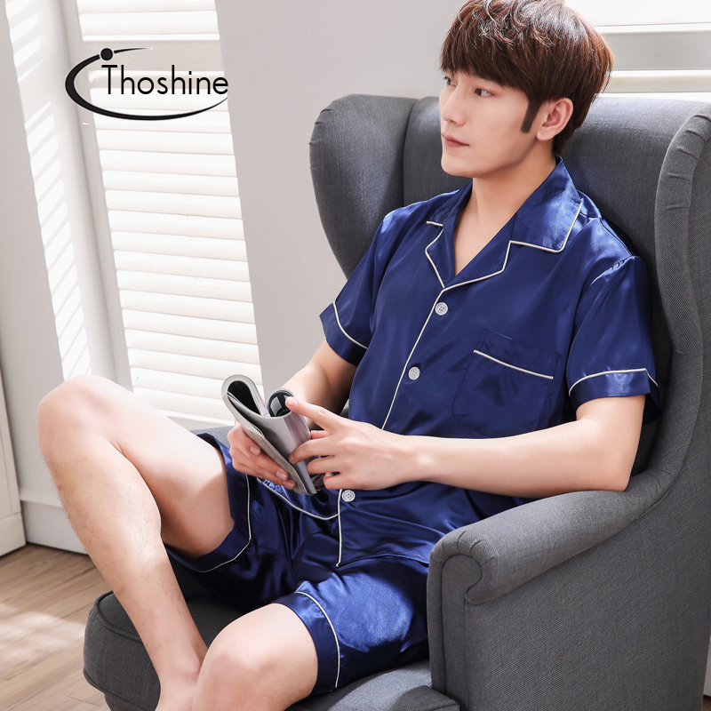 Thoshine Brand Summer Style Men China Satin   Pajamas     sets   Patchwork Turn-down Collar Button Sleepwear Male Elastic Waist Pijama