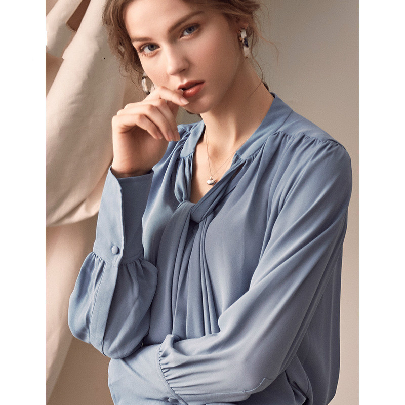 Long Sleeve Shirts Blouse Women Stand Collar Tops Female Elegant Casual Loose Tops And Blouses Fashion Clothes 2019 Spring Blusa