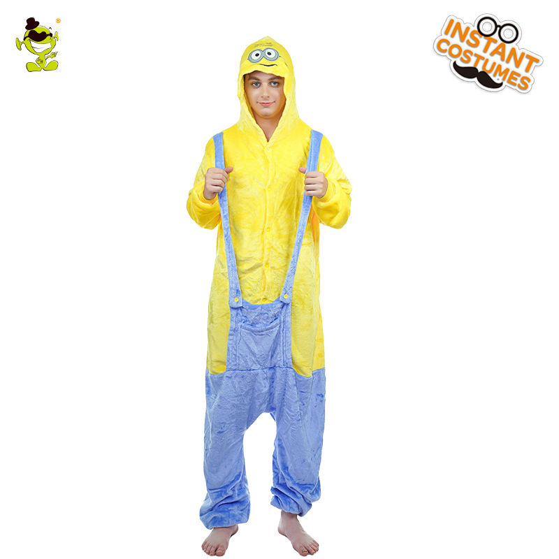 QLQ Adult Men's Cartoon Minons Pajamas Costume Performance Nightwear Cosplay Yellow Male Winter Sleepwear Pajamas Costumes