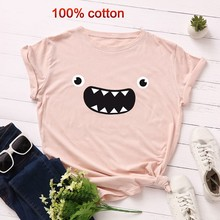 GUMPRUN Summer Streetwear Funny T Shirts Womens Short Sleeve Plus Size O Neck Loose Cotton Tshirt Women Clothes 2019 Casual Top