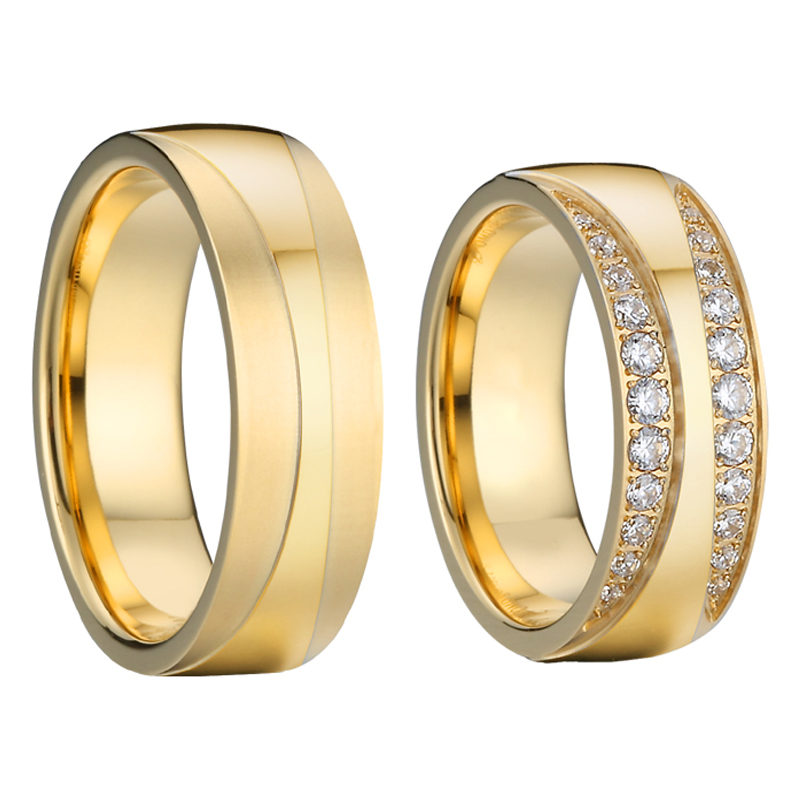 2020 new handmade Alliances Love gold filled marriage wedding rings set for couples men and women girls gift Cubic Zircon