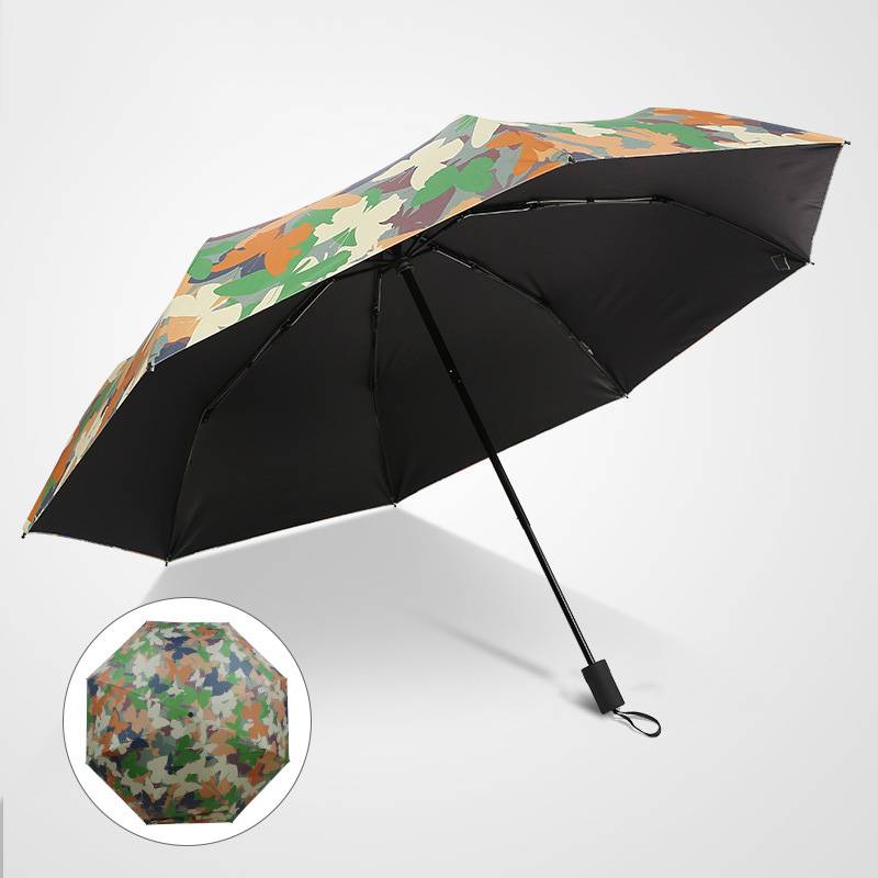 Fashion New Voll Kohlefaser Dach Dreifache Regenschirm Anti-Uv Fan Schmetterling Regenschirm 8D