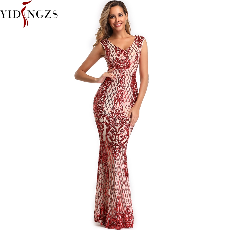 YIDINGZS Elegant V-neck Mermaid Burgundy Sequins   Evening     Dress   Sleeveless Party Long   Evening     Dress