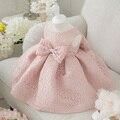 Высокое Качество Baby Girl Dress Розовый Блеск Органзы Крещение Dress для Девочки 1 Года Рождения Dress Ребенка Chirstening Dress для младенческой