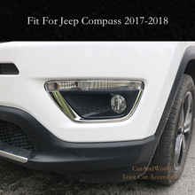 Front Fog Light Eyebrow Cover Lamp Protector Trim For Jeep Compass 2017 2018 Exterior ABS Chrome Sticker Car-styling Accessories