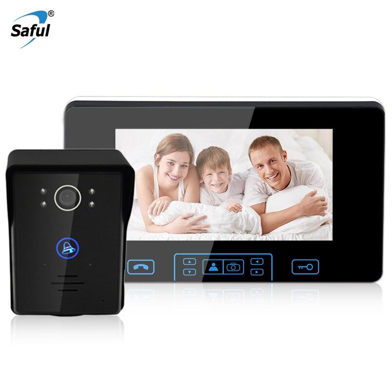 "Saful 7"" TFT Wireless Video Door Phone Intercom System 2.4GHz Digital Doorbell door phone camera with 1 Monitor Doorbell Camera"