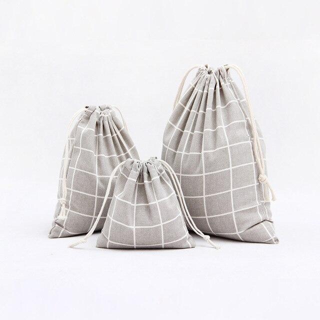 3 개/대 휴대용 패션 다기능 여성 코 튼 drawstring 가방 작은 큰 크기 여행 sundries 주최자 가방