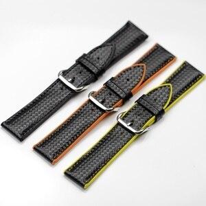 Ремешок для часов из черного углеродного волокна, 18 мм, 20 мм, 22 мм, нижняя часть, силиконовый ремешок для часов, прошитый для Samsung S2, S3, Tudor, брас...