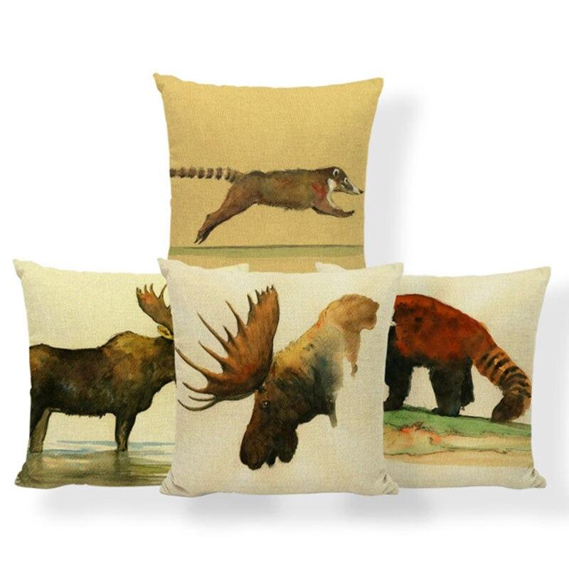 Pug Greyhound Cushion Cover Corgi Bulldog Pillow Case Covers Animal Western Meditation Presents Throw Pillow Covers Square Linen