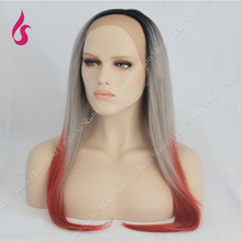 Ombre wig black gray Red mix color  Long Straight  Synthetic lace front  Wig two Tone Color Light Grey Straight  cosplay Wigs !!
