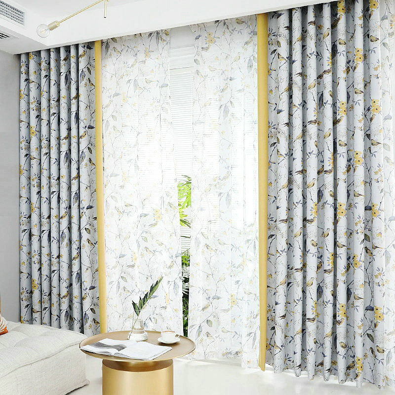 Home Modern Printed Floral High Shading Curtains For Living Room Curtain For Bedroom Blackout Curtain For Kitchen Birds Plants