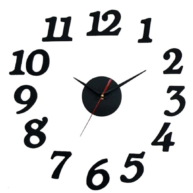 DIY Self Wall Clock Adhesive Horloge Decal 3D Modern Wall Digit Home Living Room Interior Decoration High Quality