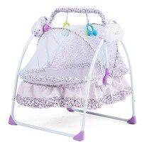 Новый стиль детская кровать электрического Колыбели складные детские Колыбели с москитной Сетки для автомобиля Смарт Многофункциональный