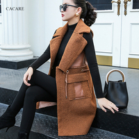 CACARE Fur One Long Fleece Vest Winter Women Sleeveless Cardigan Women Sleeveless Jacket Coat Gilet Long 2 Choices F0117