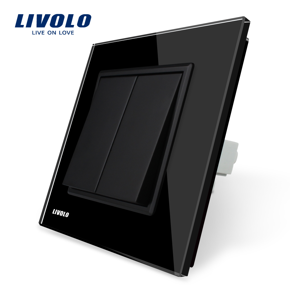 Livolo Manufacturer EU standard Luxury Black Crystal Glass Switch Panel, Two Gangs, Push Button Switch, VL-C7K2-12 livolo remote switch with crystal glass panel wall light remote touch led indicator 3gang 1 way vl c503r 11 12 without remote