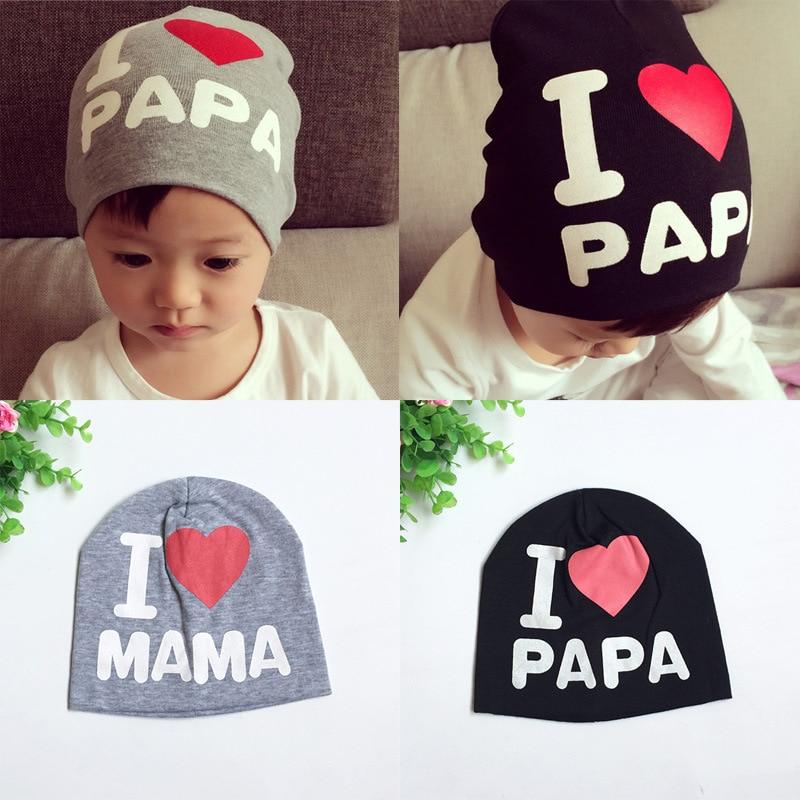 цена на Cute Newborn Baby Summer Hats for Boy Girl Crochet Baby Hat Girl Boy Caps Toddler Baby I LOVE PAPA MAMA Baby Hat Caps MZ01