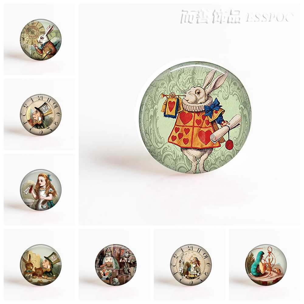 DIY 25mm Round Glass Cabochon for Blank Base Jewelry Alice In Wonderland Making Pendant Glass Dome Jewelry Accessories