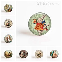 DIY 25mm Round Glass Cabochon for Blank Base Jewelry Alice In Wonderland Making Pendant Glass Dome Jewelry Accessories(China)