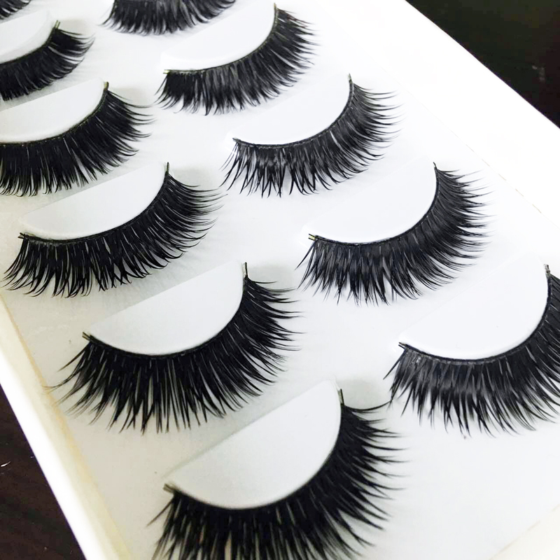 False EyeLashes 12Pair Thick Black Fake Eyelashes Makeup Tips Natural False Lashes Makeup Long Fake Eye Lashes