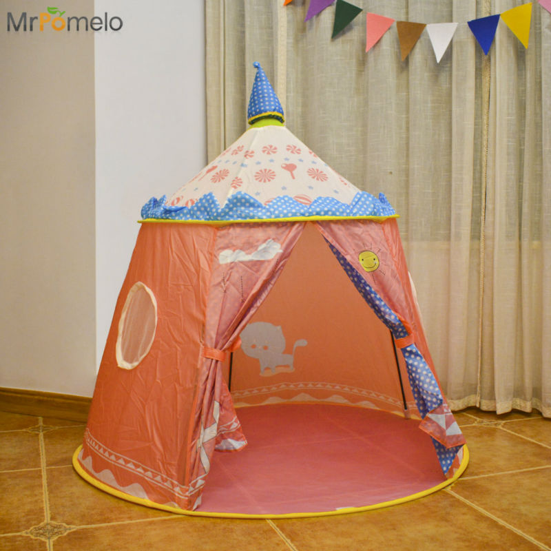 MrPomelo Toy tent for kids Foldable Princess Pink Castle Tents Baby Play Ball Pit Children Pink Teepee Play House with Carry Bag прошутто кампомос в к