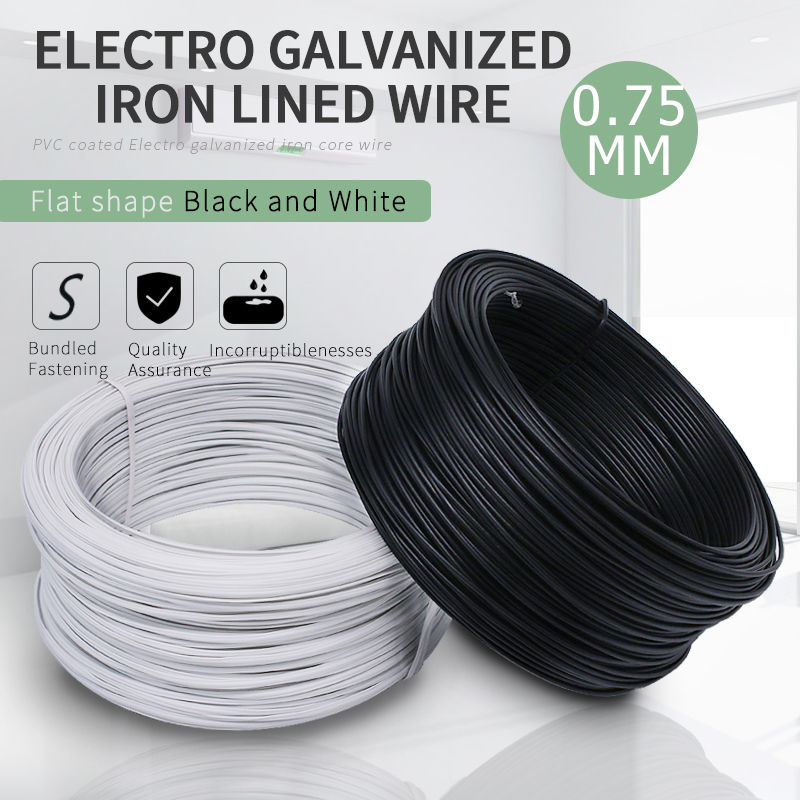 70Meters/lot 0.75MM Dia. Flat Black And White PVC Coated Electro Galvanized Iron Lined Wire Cable Tie Wires