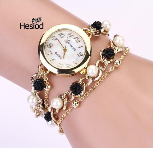 все цены на Hesiod Romantic Design Black Flower White Imitation Pearl Gold Color Chain Bracelet Watch Wedding Bracelet Bangle