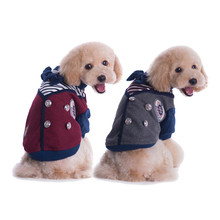 Fashion England style school uniform warm coat for dogs fabric pet clothes for dogs small winter XL pet clothing costume
