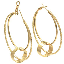 b995a86a84da5 Dreamtop Hollow Big Circle Hoop Earrings For Women Gold Silver Color Round  Pendant Earing Simple Romantic