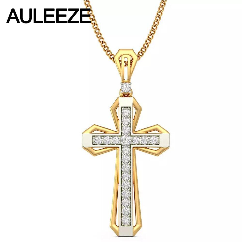Class Cross Natural font b Diamond b font Pendant 14K Two Tone Gold Pendants For Men