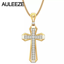 Class Cross Natural Diamond Pendant 14K Two Tone Gold Pendants For Men Yellow Gold White Gold Necklace Christian Jewelry Gift