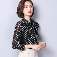 BIBOYAMALL Women Blouse Spring Black Shirt Top Femme Fashion Casual Long Sleeve OL Work Polka Dot