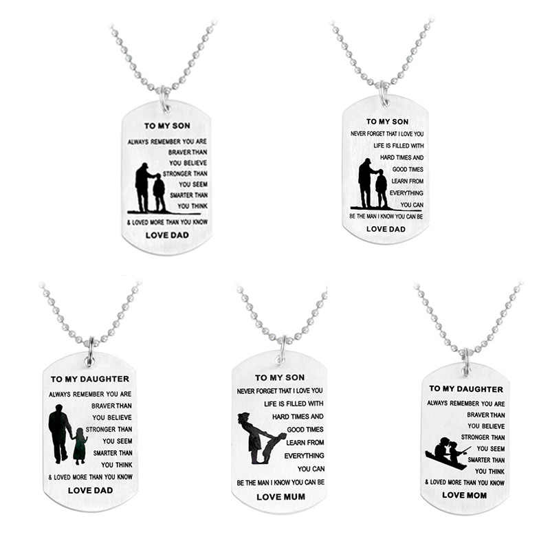 American Army Cards Dad Son Mom Daughter Pendant Necklace Engraved Letter  Stainless Steel Jewelry Gift Label Tags Home Necklaces