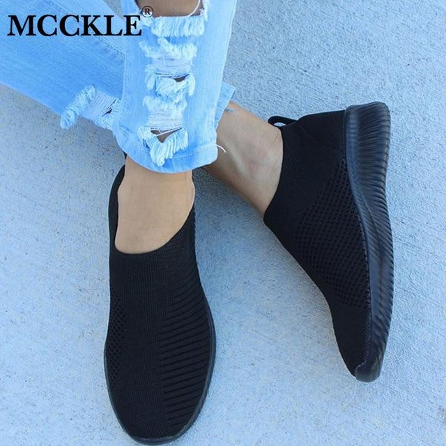 MCCKLE Sneaker Nữ Không Lưới Mềm Mại Nữ Tất Dệt Kim Lưu Hóa Giày Giày Slip On Nữ Phẳng Giày Đi Bộ Giày