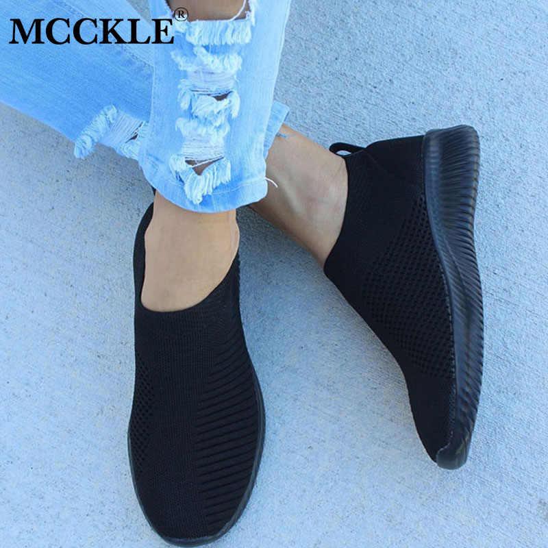 Zapatos de otoño MCCKLE para mujer, zapatillas de deporte, malla de aire, calcetines de punto para mujer, zapatos vulcanizados, calzado informal para caminar de señora