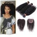 3 Bundles Kinky Curly cabelo com encerramento barato Rosa 7A não transformados fechamento parte livre com cabelo virgem brasileiro tece