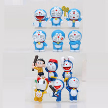 6pcs/lot Cute Q vision Doraemon Nobita PVC Figures Doraemon Models Toys Christmas Gifts(China)