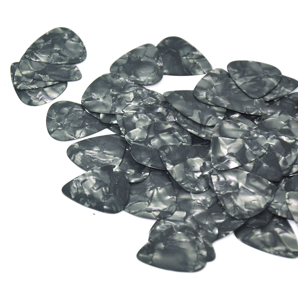 Купить с кэшбэком Lot of 100pcs Thin 0.46mm Gauge Celluloid Guitar Picks Plectrums Black Pearl