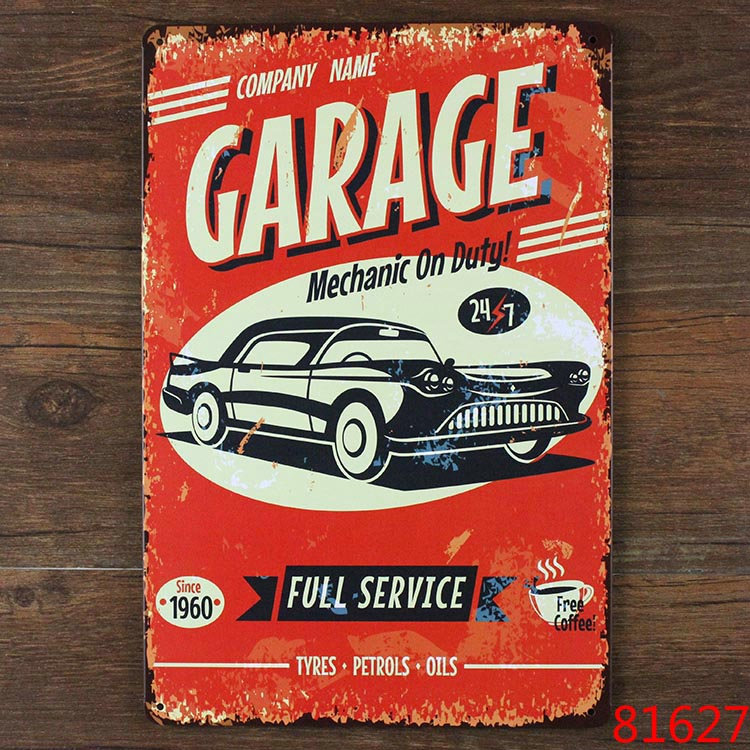 Garage and vintage car metal Tin signs malt vintage home decor decorative plaques for bar wall art craft 20X30CM A-0441