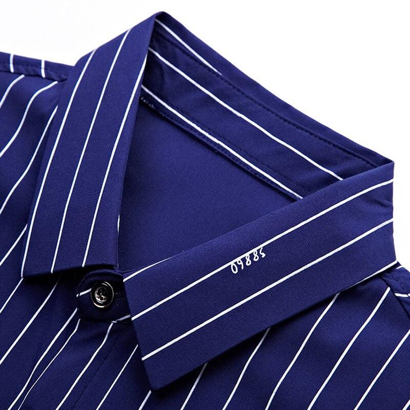 2018 Summer Striped Short Sleeve Shirt Men Dress Shirts Turn Down Collar Element Slim Fit Shirts Men Social Shirt