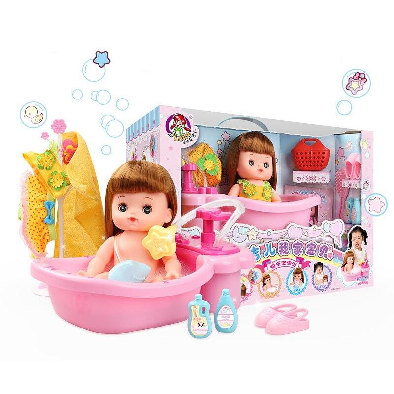 1 Set bébé poupée avec baignoire accessoires jouet classique pour Mini bain enfant lavage salle de bain fille bébé eau jouet enfant eau douche jouet